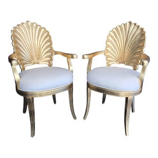 Set of Four Venetian Grotto Style Shell Back Armchairs