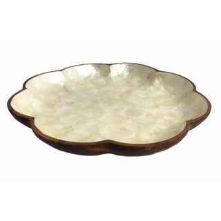 Scalloped Edge Mother of Pearl & Wood Platter