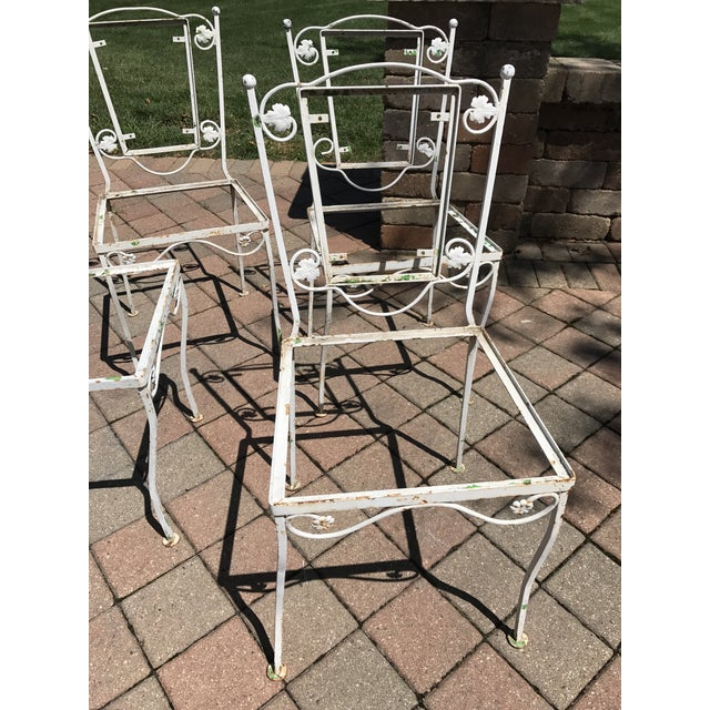 Vintage Wrought Iron Chairs - Set of 4 - Image 7 of 8