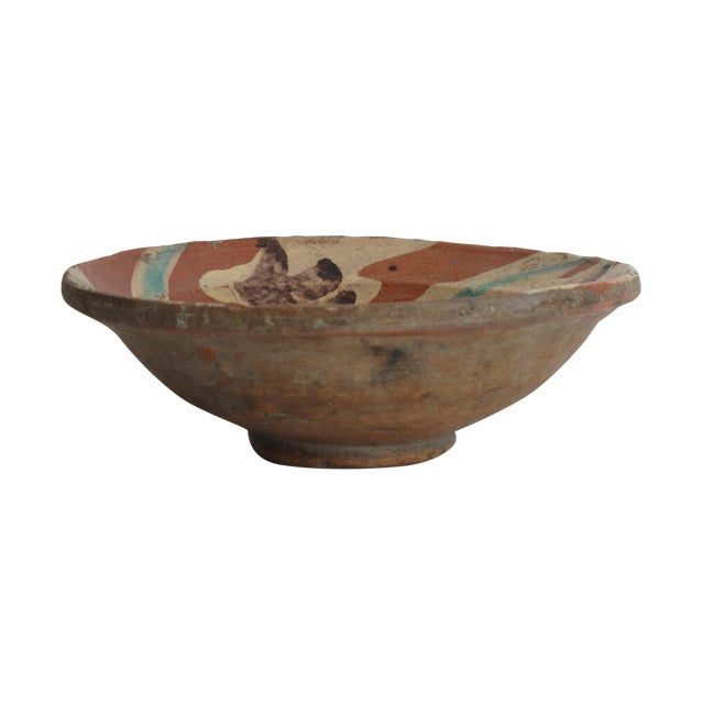 Terracotta Bowl with Flower Motif - Image 1 of 9