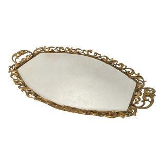 Hollywood Regency Gold Beveled Mirror Dresser Tray