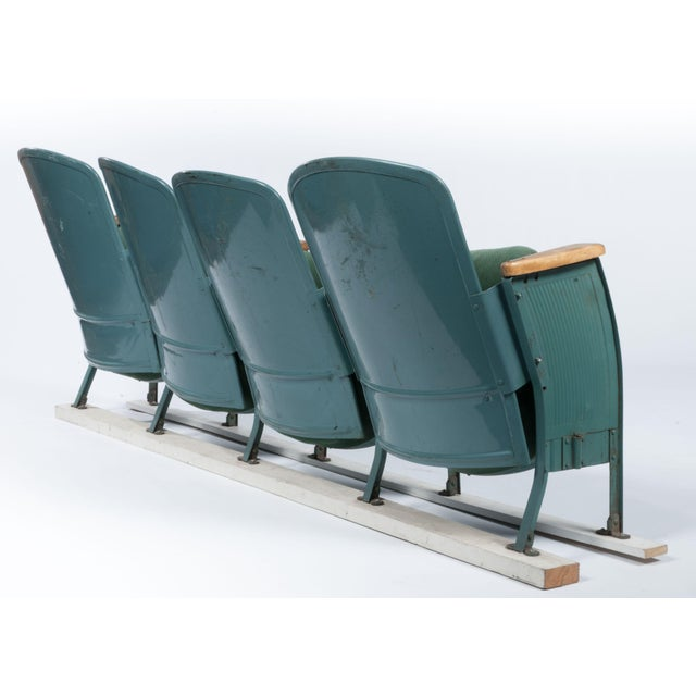 Vintage Velvet Theater Seats in Forest Green - Image 5 of 6
