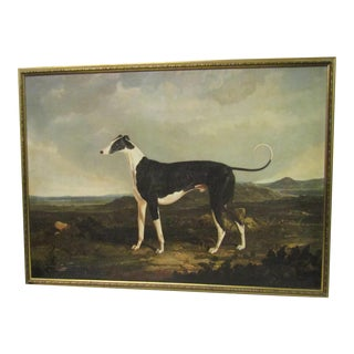 "Gold Framed Reproduction JF Herring 1829 ""Whippet"" Painting"