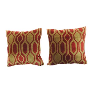 Modern Red & Gold Silk Velvet Pillows - A Pair