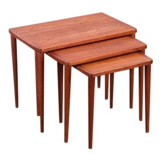 Teak Nesting Tables With Tapered Legs