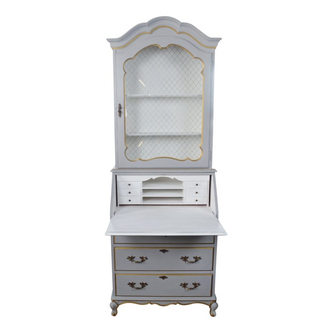 Image of French-Style Grey Secretary Desk with Shelving