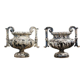 Blue, Black and White French Garden Urns