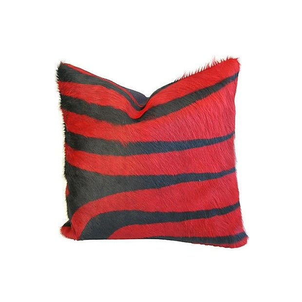 Image of Custom Red & Black Zebra Cowhide Pillows - a Pair