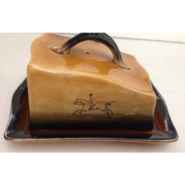 Antique English Huntsman Brown Butter Dish - Image 3 of 9