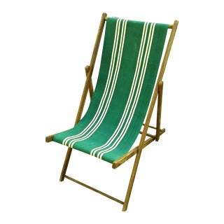 Vintage Wood & Canvas Folding Beach Deck Chair