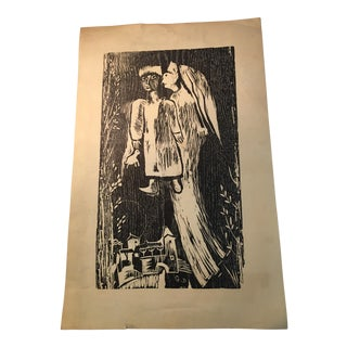 Angel & Child Woodcut Print