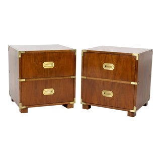 Pair of Campaign Style Baker Nightstands