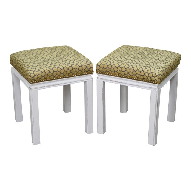 Mid Century Pair of Custom Painted Square Stools Benches - Image 1 of 11