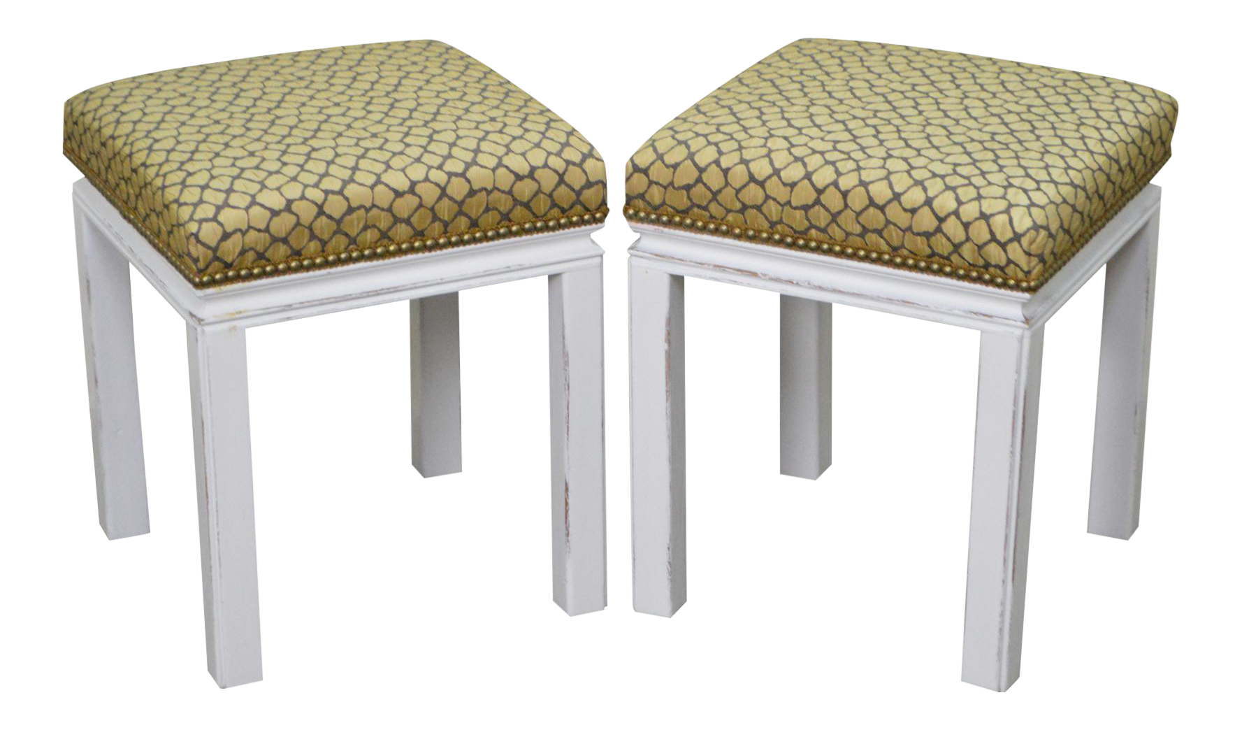 Mid Century Pair of Custom Painted Square Stools Benches  sc 1 st  Chairish : chicago stool chair inc - islam-shia.org