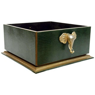 Ornamental Emblazoned Brass & Ivory Elephant Box