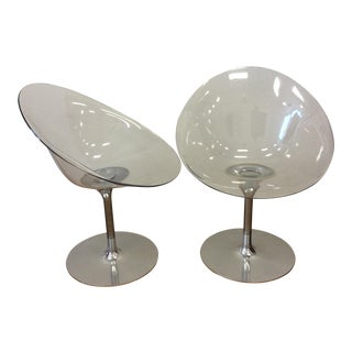 Philippe Starck for Kartell Lucite Eros Swivel Chairs - A Pair