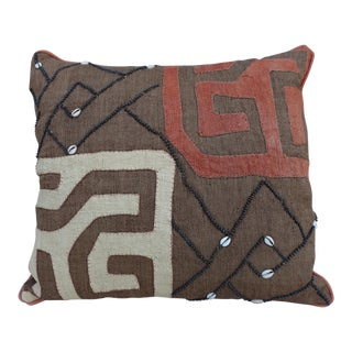 African Kuba Cloth & Shells Pillow