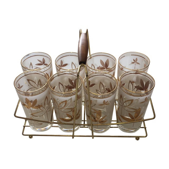 Image of Mid-Century Cocktail Glasses W Caddy - S/9