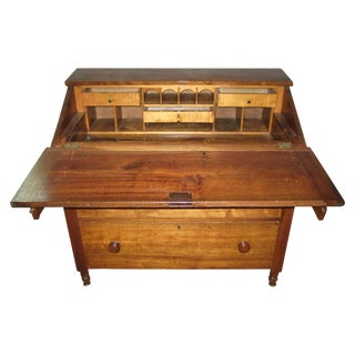 19th Century Walnut Slant Front Secretary Desk