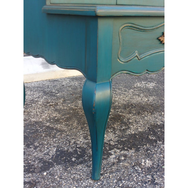 Mid-Century Blue Nightstands - Pair - Image 7 of 9