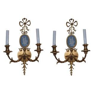 Pair Bronze Wedgwood Sconces