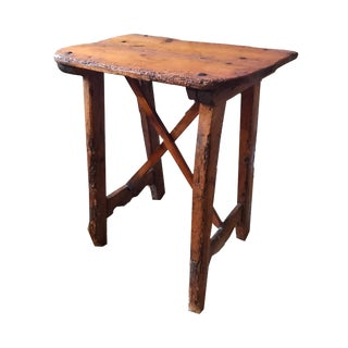 Tall Side Table with Cross Bar Support
