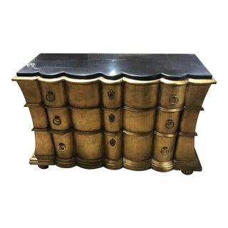 Hollywood Regency Gilt Marble Top Cabinet