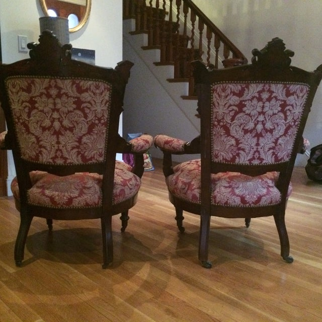 vintage red and gold brocade accent chairs pair chairish. Black Bedroom Furniture Sets. Home Design Ideas