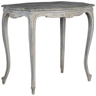 Antique French Painted and Carved Blue Side Table c.1920