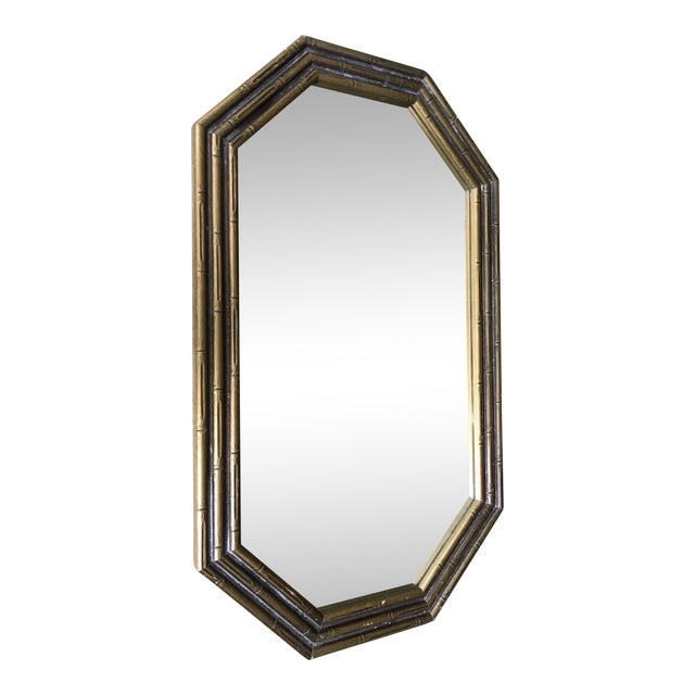 Image of Vintage Faux Bamboo Octagonal Mirror
