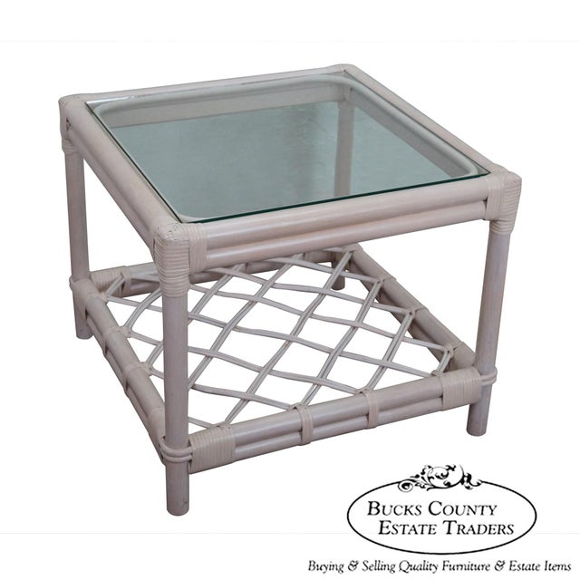 Ficks Reed Painted Rattan Glass Top End Table - Image 2 of 11