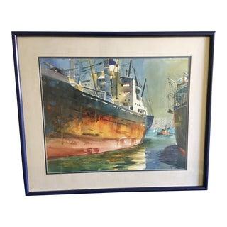 Vintage Edward C. Meyer Marine Watercolor