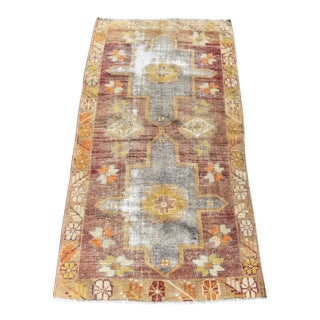 Muted Handwoven Oushak Vintage Carpet - 2′1″ × 4′2″