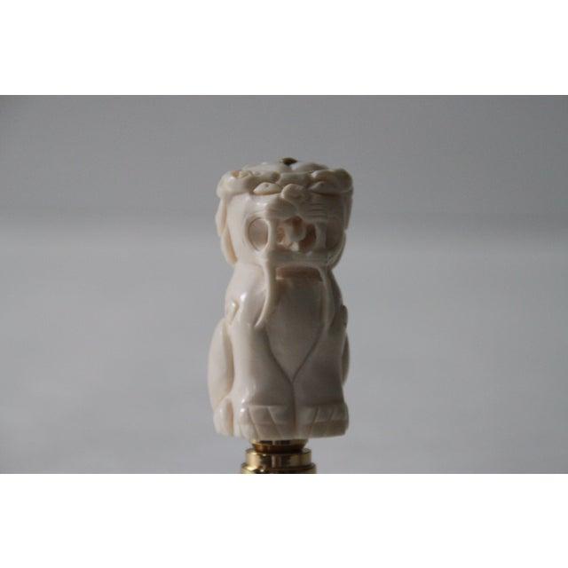 Chinese Bone Foo Dog Lamp Finials - A Pair - Image 5 of 5