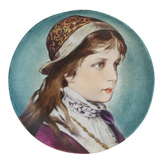 P.J. Ulrich Antique Porcelain Hand Painted Portrait Plate