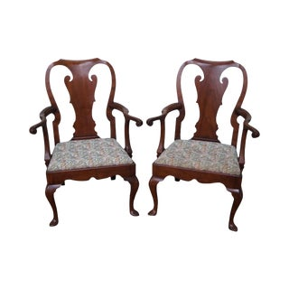 Kittinger Colonial Williamsburg Pair of Mahogany 18th Century Style Queen Anne Arm Chairs