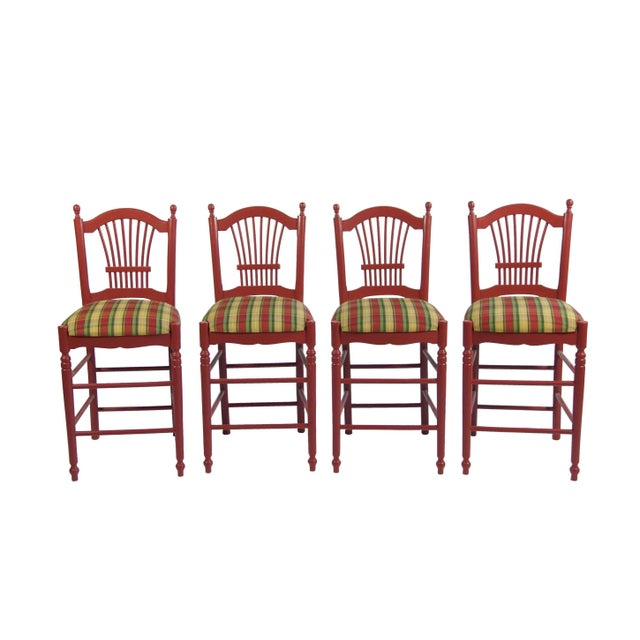 Red Bar Stools With Gingham Upholstery - Set of 4 - Image 1 of 4