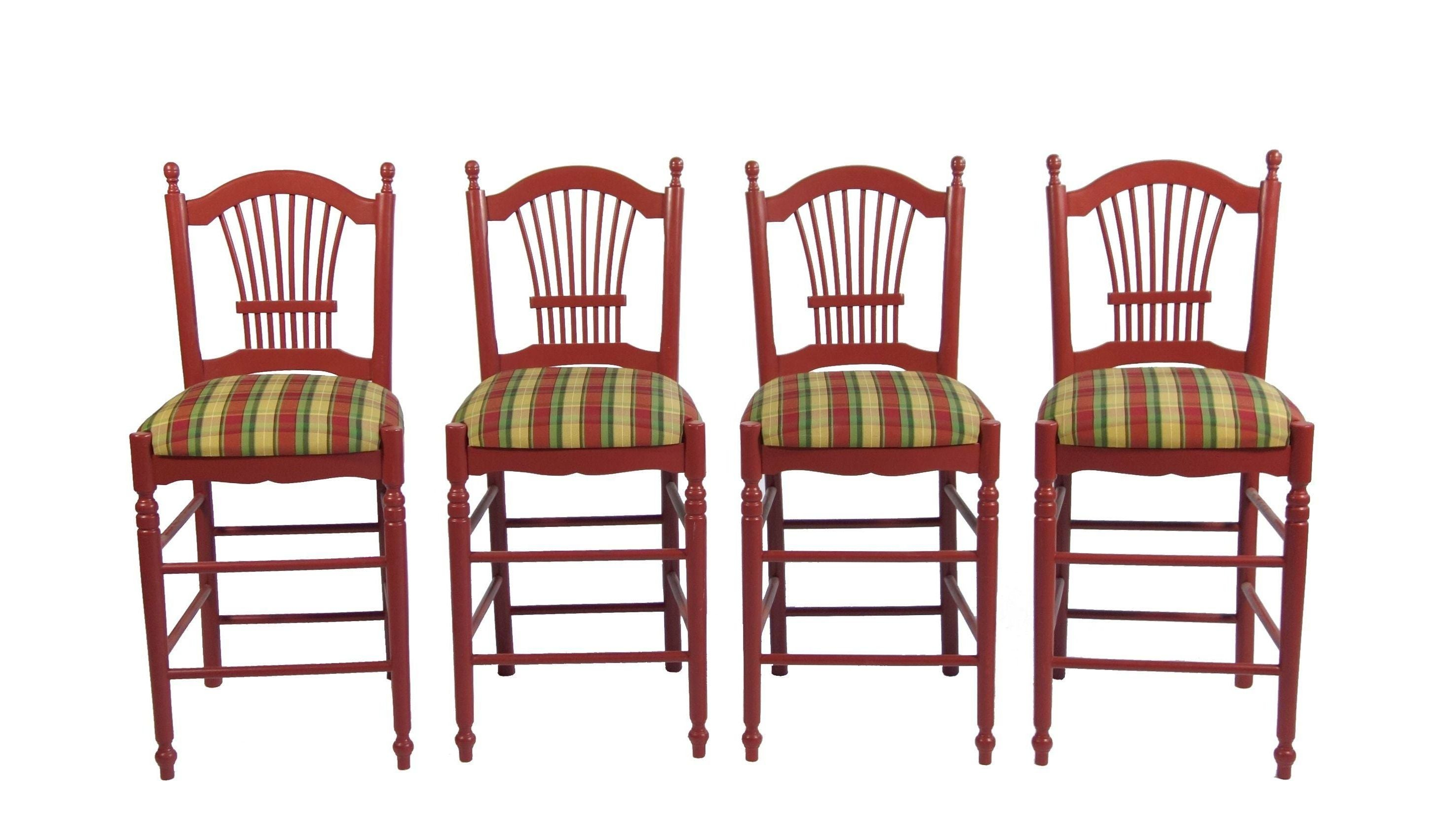 Red Bar Stools With Gingham Upholstery Set Of 4 Chairish