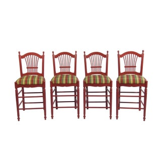 Red Bar Stools With Gingham Upholstery - Set of 4