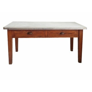 Oak Metal Top Work Table