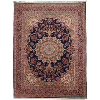 Rugsindallas Navy Persian Kerman Rug- 10′ × 13′1″