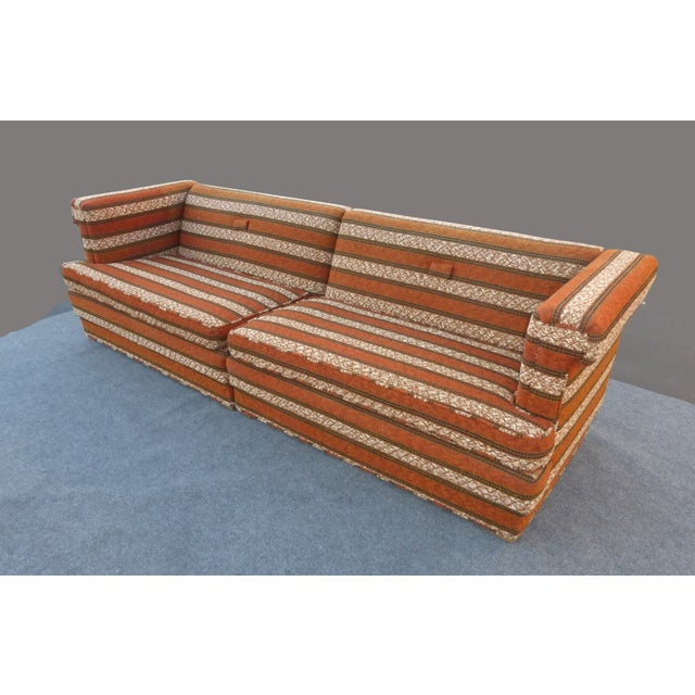 Mid-Century Modern Orange Stripped Sofa - Image 4 of 10