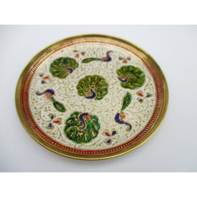 Image of Enamel and Brass Peacock Trinket Dish Bowls - Set of 5