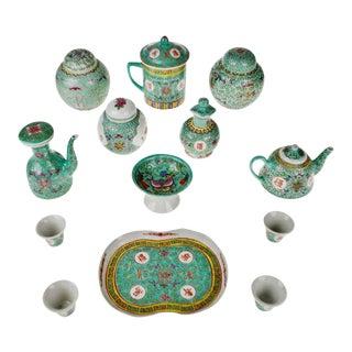 Vintage Famille Rose Mun Shou Porcelain Tea Set Ginger Jars - Set of 13