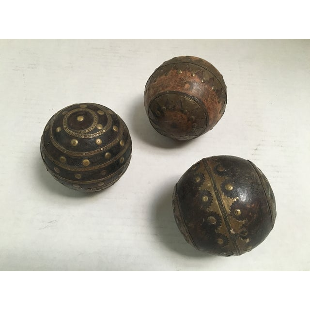 Antique Wood & Metal Bocce Balls - Set of 3 - Image 3 of 7