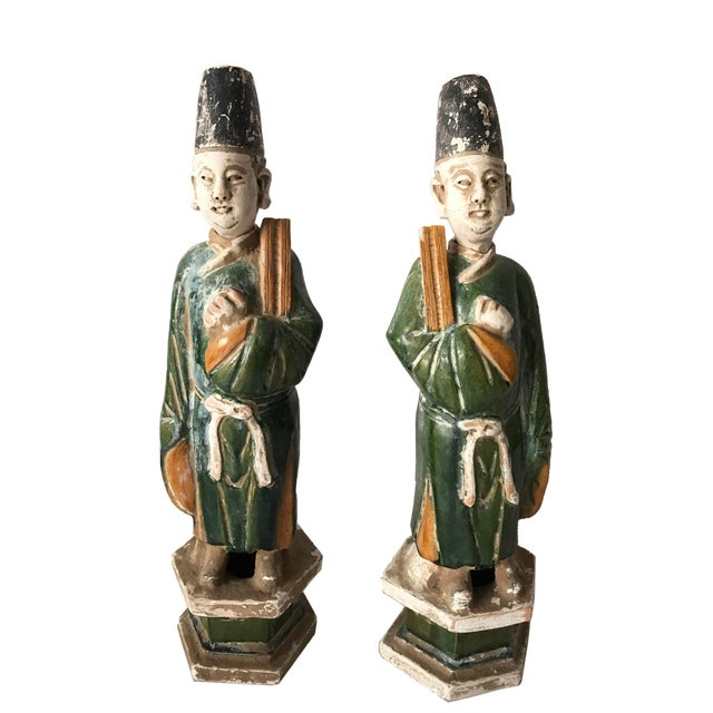 Chinese Ming Dynasty Glazed Pottery Tomb Figures - A Pair - Image 6 of 6