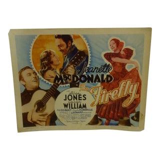 "Vintage Movie Poster ""The Firefly"" Jeanette Macdonald & Allan Jones - 1962"