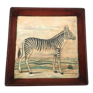 Antique Zebra Painted Wooden Tray