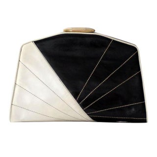 1980s black and white leather clutch