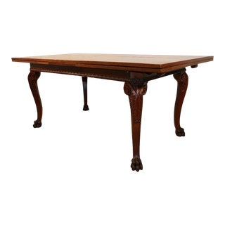 Antique Edwardian Style Carved Walnut Extension Dining Table